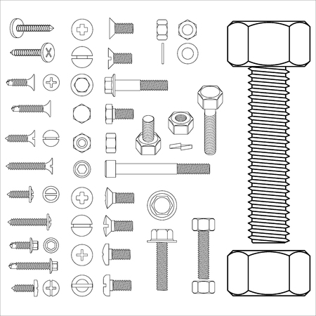 bolts and nuts: screw and nuts set