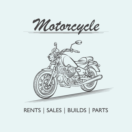 Motorcycle old poster vector illustration