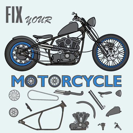 Motorcycle fix constructor generator set Ilustração