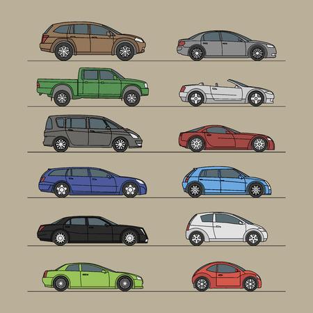 car icon set vector illustration