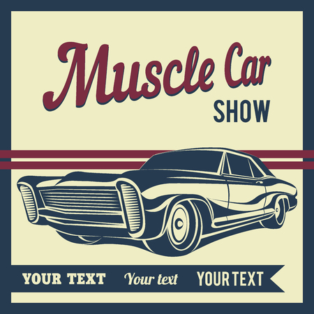 old cars: Car muscle poster vector illustration Illustration