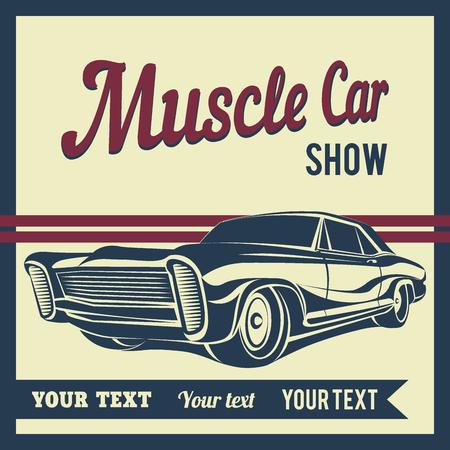 silhouette voiture: Muscle Car vecteur affiche illustration