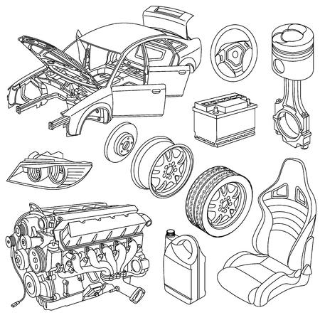 Części zamienne do samochodów Ilustracje wektorowe