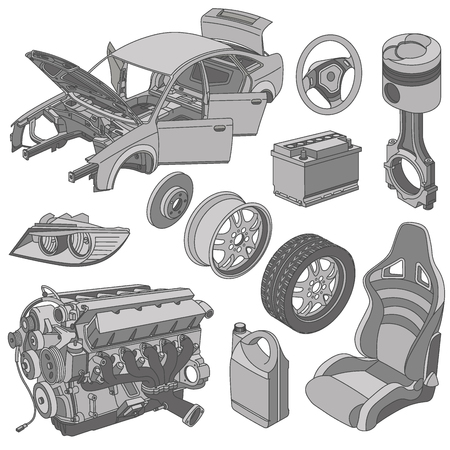 body parts: Car parts icons isometric vector
