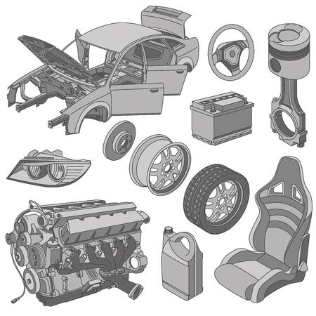 repuestos de carros: piezas de automóviles iconos del vector isométrica