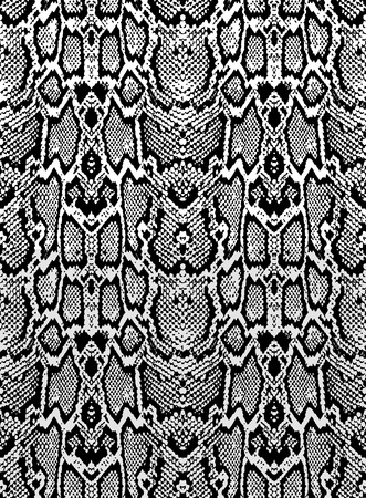 Snake skin texture. Seamless pattern black on white background Vettoriali