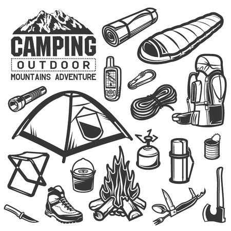 hiking boot: camping and hiking big icon set