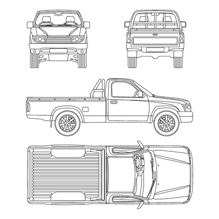 Pickup truck illustration blueprint