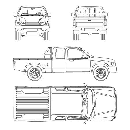 Pickup truck illustration blueprint