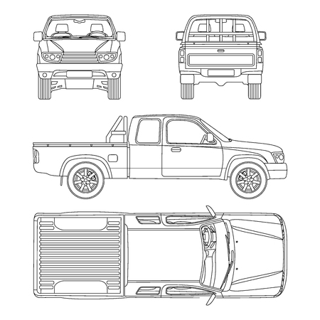 pick up truck: Pickup truck illustration blueprint