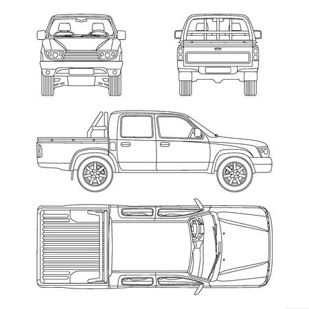 Pikap blueprint ilustracji