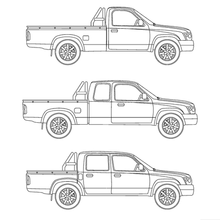 lift and carry: Pickup truck illustration blueprint