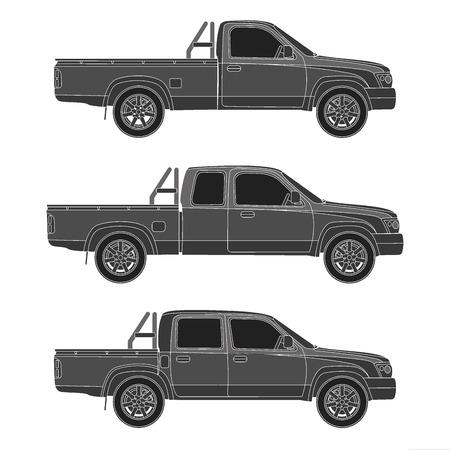 pickup: Pickup truck illustration blueprint