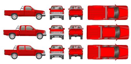 camioneta coche todo punto de vista, la parte superior, lateral, posterior, frontal