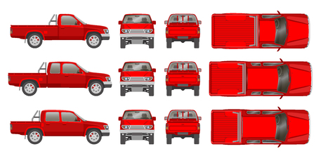 ramassage de voitures camion tout point de vue, haut, côté, arrière, avant