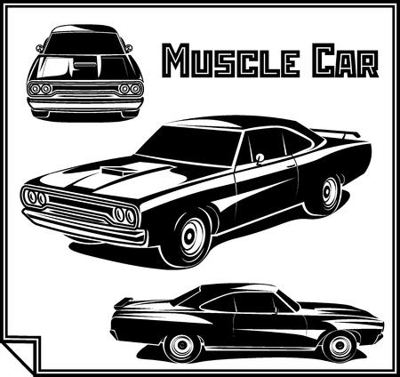 Muscle car vector poster illustration Иллюстрация