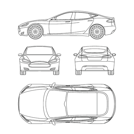 wheel car: Car line draw insurance, rent damage, condition report form blueprint Illustration