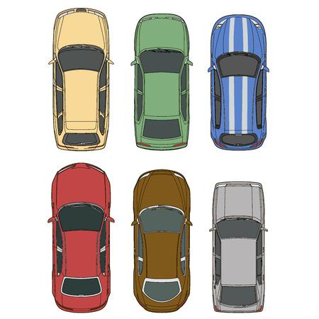 cabrio: Vector cars set top view illustration