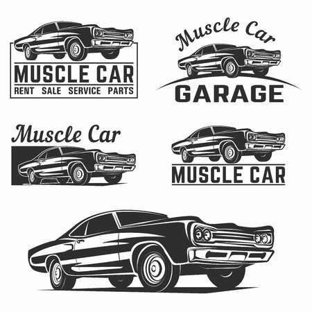 Muscle car vector poster illustration Illustration