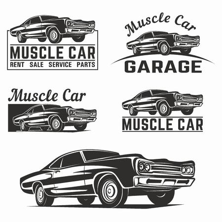 Muscle car vector poster illustration Illustration