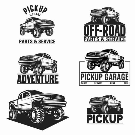 camioneta pick up: Ilustración del vector de recogida de camiones 4x4