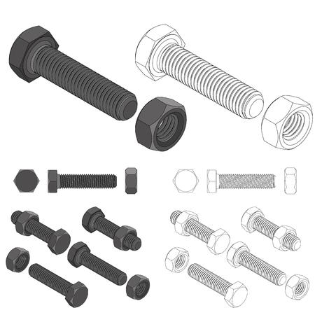 fasteners: Screw bolt nut set drawing