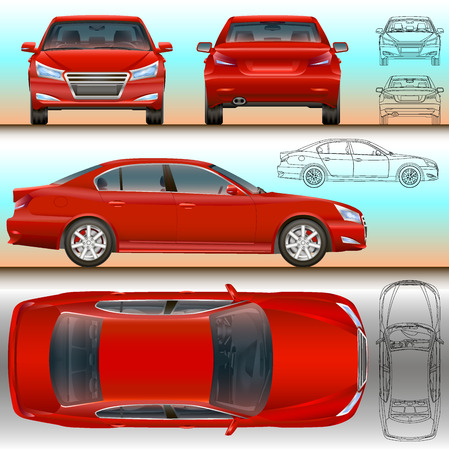 car illustration all view color and outline