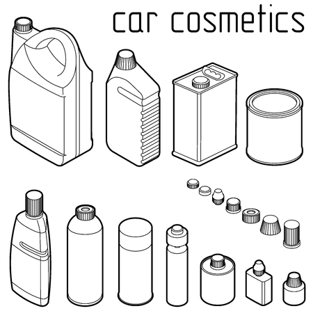 cosmetics products: car motor and engine oil cans, anti freeze, water and tire glue bottles. Car cosmetics and transportation related products.