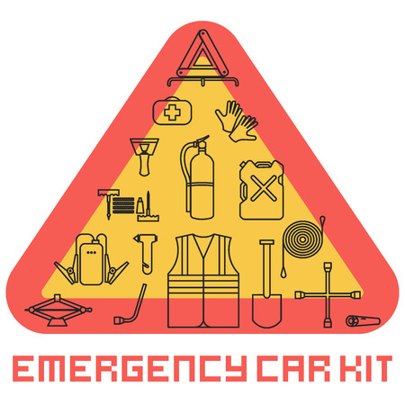 Emergency road kit items set. Car service and repairing equipment. Auto mechanic tools. Ice scraper and jumper cables. Illustration
