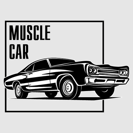 70's: Muscle car retro 70s  vector poster vector