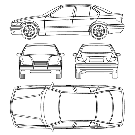 Linea Auto Assicurazione danni pareggio, forma condizione di rapporto Vettoriali