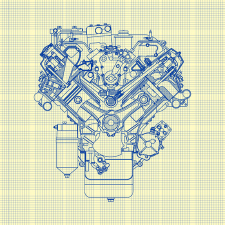 blue pen: Drawing old engine on graph paper. Vector background. Illustration