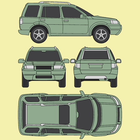 condition: Car line draw insurance, rent damage, condition report form blueprint Illustration