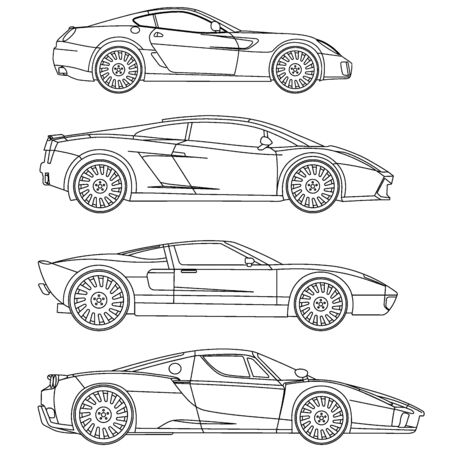 red sports car: sport car series set vector