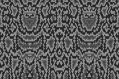snakeskin: Snake skin texture. Seamless pattern black on white background Illustration