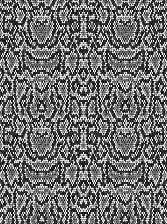 Snake skin texture. Seamless pattern black on white background 일러스트