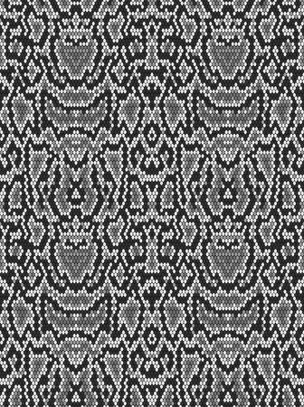 Snake skin texture. Seamless pattern black on white background Illustration