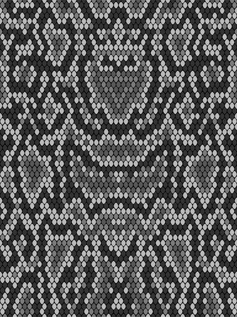 Snake skin texture. Seamless pattern black on white background Ilustração