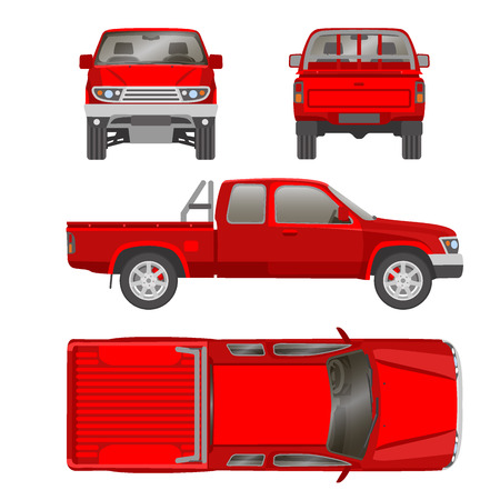 Pickup truck vector illustration blueprint