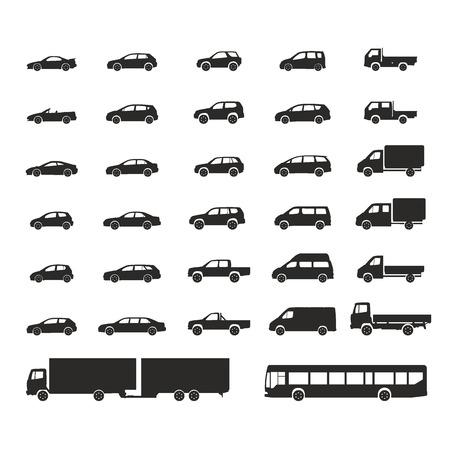car icons big set vector vehicles illustration Illustration