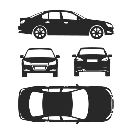 Car line draw insurance, rent damage, condition report form blueprint Illustration