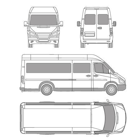 ベクトル サービス車テンプレート。白い空白の商用車 - 配達用バン。