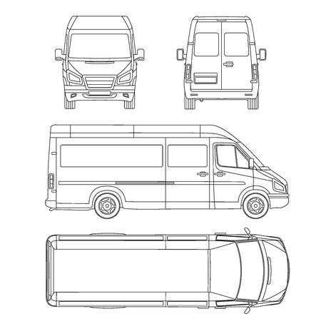 Vector del modelo de servicio de coche. Blanca en blanco vehículos comerciales - van de entrega.