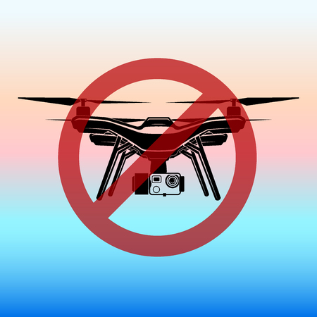 remote view: no fly zone drone quadrocopter fly zone vector sign