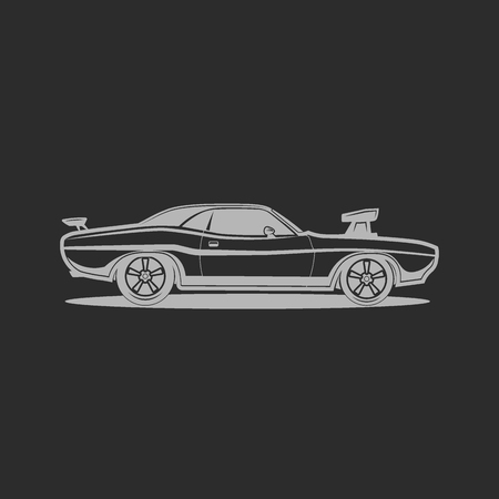 muscle car: Muscle car sport retro vintage vector illustration