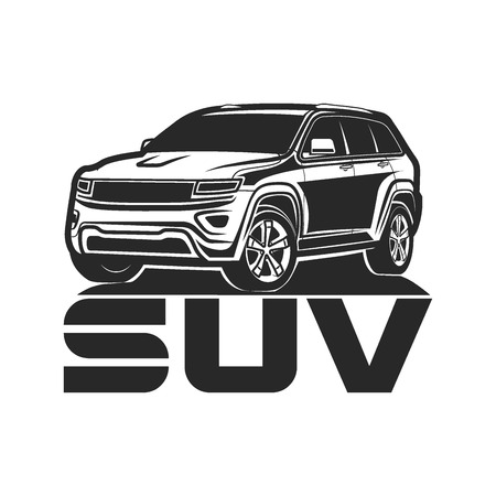 Suv White Background Stock Vector Illustration And Royalty