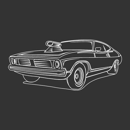 muscle car: Muscle car vector art poster t-shirt illustration