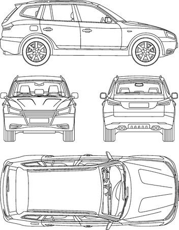 assicurazione disegnare la linea auto, noleggio danni, condizione scheda di segnalazione progetto Vettoriali