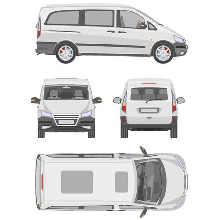 Vector del modelo de servicio de coche. Blanca en blanco vehículos comerciales - van de entrega. Ilustración de vector
