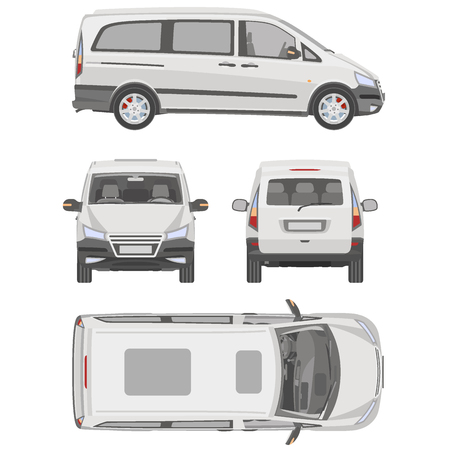 panel van: Vector service car template. White blank commercial vehicle - delivery van.